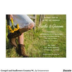 Cowgirl and Sunflowers Country Wedding Invitation