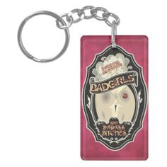 BadGirls gold silhouette young lady Bottom logo Acrylic Keychains