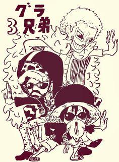 Dressrosa; Luffy, Trafalgar and Doflamingo.