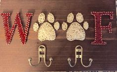 "custom string art dog pet leash holder rack 15"" x 9"" Choice of Font / Wood Stain / String color"
