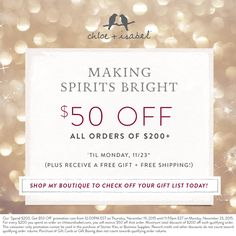 This weekend only – $50 off all orders of $200+ on my boutique! Shop at my Boutique!! https://www.chloeandisabel.com/ boutique/lexiperry