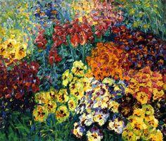 1908 Emil Nolde (German, 1867-1956) ~Flower Garden, Pansies