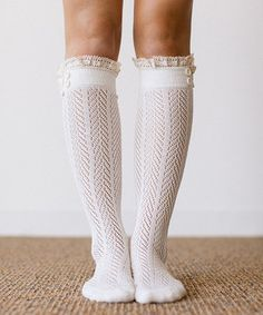 Loving this Ivory Lace Trim Knee-High Socks on #zulily! #zulilyfinds
