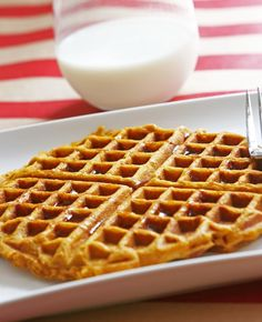 Pumpkin Waffles National Maple Syrup Day - Ingredients, Inc. Delicious Breakfast Recipes, Yummy Food, International Waffle Day, Homemade Waffles, Pumpkin Waffles, Breakfast Tea, Waffle Recipes, Pumpkin Recipes, Organic Recipes