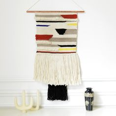 Handmade wall weaving.Wool, Cotton, Copper stick39cmx85cm (including the fringes)