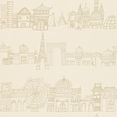 Distant Shores gold and cream wallpaper
