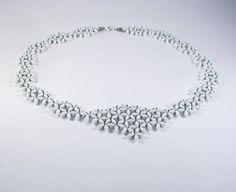 White beaded necklace. Statement handmade necklace by RamixBijoux