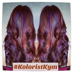 Violet red copper highlights hair