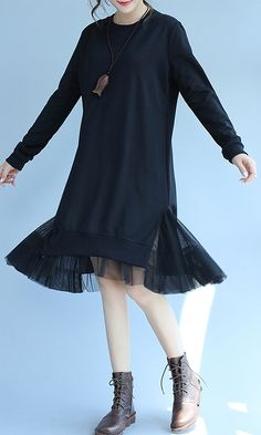 2018 spring black cotton dresses lace patchwork loose dressMost of our dresses are made of cotton linen fabric, soft and breathy. loose dresses to make you comfortable all the time. Makes you look slimmer and matches Grey Evening Dresses, Unique Prom Dresses, Winter Dresses, Wedding Dresses, Spring Fashion Outfits, Fashion Dresses, Florida Mode, Maternity Shirt Dress, Next Clothes
