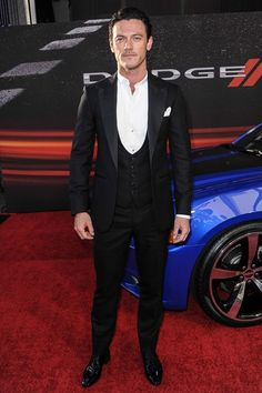 Luke Evans.  A flawless demonstration of why you should be wearing a three-piece in A. Sauvage Homme at the premiere of Fast & Furious 6 in Los Angeles.