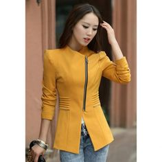 Fashionable Style Long Sleeves Lapel Collar Zipper Polyester Women's Blazer, YELLOW, L in Blazers | DressLily.com