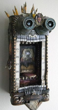 Michael Demeng--tak a class frm him if u get th chanc u will NT b sorry Found Object Art, Found Art, Collages, Altered Boxes, Altered Art, Mixed Media Collage, Collage Art, Shadow Box Art, Marionette