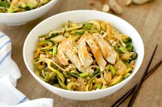 Hungry Girl's Healthy Easy-Peasy Peanut Zucchini Noodles with Chicken Recipe - ww - 8 sp