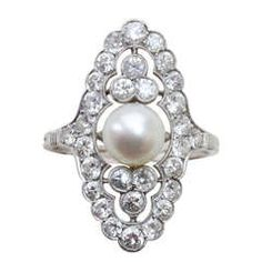 Pearl and Diamond Navette Shaped Edwardian Ring