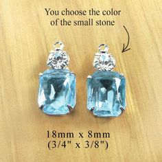Aqua blue glass beads paired with tiny rhinestones (you can choose the color!) - pretty earirng drops or charms in silver settings, $3.59/pr