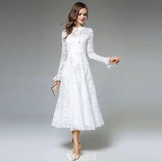 1affdb0f45 Proste   Simple Kość Słoniowa Przypadkowy Długie sukienki 2019 Princessa  Wycięciem Wzburzyć Długie Rękawy Długość Herbaty Odzież damska