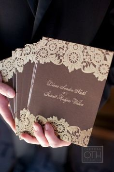 Jackson Hole wedding.  Brown and lace invitations by Ceci New York.  Image by Christian Oth Photography.   /Aisle Perfect- Lace Invitations Inspiration.