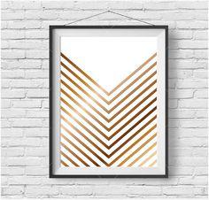 Faux Gold Print Chevron Wall Art Geometric Poster by PrintAvenue