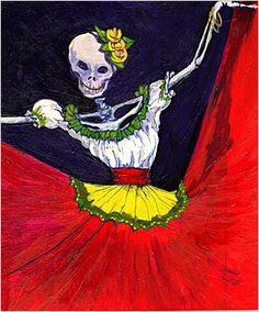 The Folk Tree - Imelda Hinojosa Day Of The Dead Drawing, Dance Of The Dead, Day Of The Dead Art, Day Of Death, All Souls Day, November 1st, Sugar Skulls, Halloween Skull, Skull And Bones
