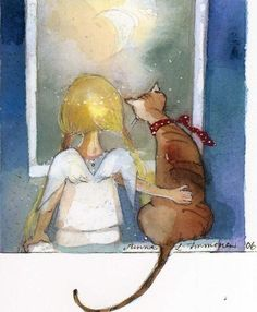 Little angel with a ginger cat/Christmas/Minna Immonen