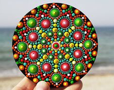 Mandala Dot Art fridge magnet, home boho decor, acrylic paint, mandala wall art, mandala hand painting