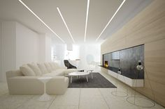 Apartments In Kiev - Picture gallery House Ceiling Design, Ceiling Design Living Room, Bedroom False Ceiling Design, Hotel Room Design, Living Room Designs, Living Room Spotlights, Home Lighting Design, Living Room Modern, Luxurious Bedrooms