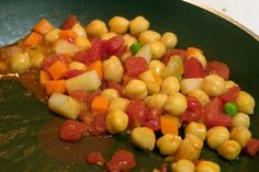 Chick Peas with Vegetables | Herbs and spices complement the delivious nutlike taste and buttery texture of chickpeas. #veggies #chickpeas #recipes