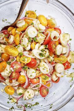 Tomato and Hearts of Palm Salad | foodiecrush.comIngredients 3 cups cherry tomatoes, sliced in half 1 15-ounce can hearts of palm, drained and sliced into ¼ inch rings ¼ cup thinly sliced or shaved red onion ¼ cup chopped Italian parsley ¼ cup vegetable oil 1½ tablespoon red vinegar 1 teaspoon sugar 1 teaspoon kosher salt ½ teaspoon freshly ground black pepper