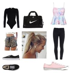 """""""Dance then changing outfit"""" by angelinagonzalez1014 on Polyvore featuring Michael Kors, Vans, NIKE, Paige Denim and Converse"""
