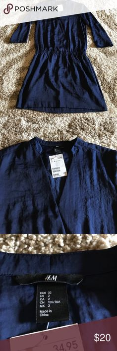 NWT H&M Dress Absolutely gorgeous H&M dress!  Never worn before and ready for a day at work or night out!  Very soft material and perfect navy color.  Wear as it is or throw on a denim jacket! H&M Dresses