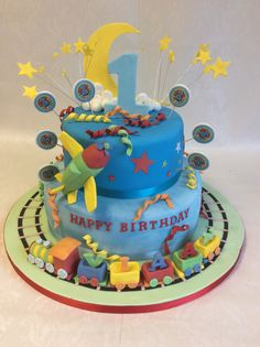 Lots happening on this one with plane, train, stars and moon for Viaan's special birthday