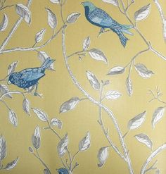 upholstery fabrics blue | Finches Curtain Fabric Glazed cotton fabric printed with blue birds on ...