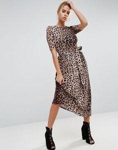 Vestido a media pierna de leopardo con cinturón anudado de ASOS