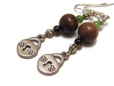 Lock brown and green earrings steampunk by TobisiasLilThing