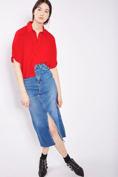 Red Short Sleeve Roll Up Shirt - New In- Topshop
