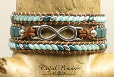 TRIPLE LEATHER WRAP Bracelet-Infinity Link-Infinity Bracelet-Seafoam-Boho Wrap-Beach-Bohemian Bracelet-Hippie Bracelet-Wrap Bracelet-(TW23) by CinfulBeadCreations on Etsy