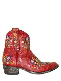 Mexicana - 40mm Leather Embroidered Floral Boots
