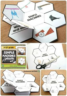 "This ""simple machines"" foldable (petal book) will help your students identify 6 different simple machines that are used in our every day life to make work easier. This resource may be used with students from grade to grade. Whole group, small grou Primary Science, 4th Grade Science, Elementary Science, Middle School Science, Science Classroom, Teaching Science, Science For Kids, Classroom Activities, Science And Nature"