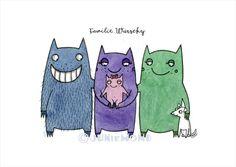 Monsterfamilie Wurschy  http://de.dawanda.com/product/84350883-deine-persoenliche-monsterfamilie