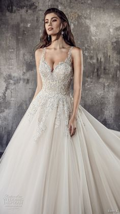 eddy k 2018 bridal thin strap sweetheart neckline heavily embellished bodice princess romantic a line wedding dress covered lace back chapel train (ct197) zv -- Eddy K. Couture 2018 Wedding Dresses