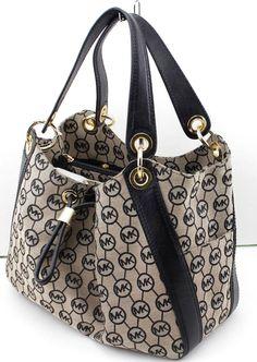 12c3748b71765e Michael Kors Ludlow Jacquard Leather Beige Black Shoulder Bag Satchel  Mrp348 for sale online   eBay