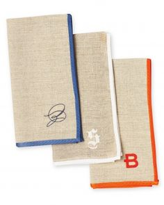 "Mark & Graham ""Typographer's"" linen napkins offer 21 monogram options and six stitch colors"