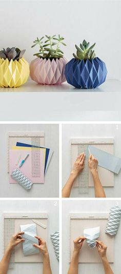 How to make an origami planter cover