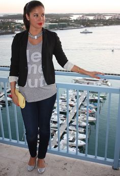 Glitter flats for a chic yet comfortable look!  , J Crew in Blazers, A Pea in the Pod in T Shirts, Banana Republic in Clutches, J Crew in Flats, H in Jewelry
