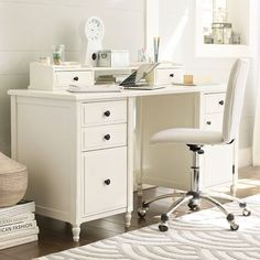 "Genevieve Desk + Hutch | PBteen - 59.5"" wide x 22"" deep x 30"" high - $949"