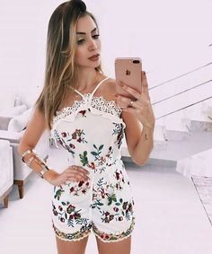 99,90 P M e G Casual Outfits, Summer Outfits, Shorts, Dream Dress, Casual Chic, Floral Tops, Rompers, Sexy, Womens Fashion