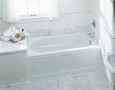 Kohler K-1184-RA-0 Devonshire Bath with integral Apron, Tile Flange and Right-Hand Drain, White at PlumberSurplus.com