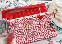 Riley Blake Ladybugs Cross Stitch, Sewing, Embroidery Project Bag on Etsy, £16.89