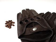 611 JAVA BROWN- Unlined Men's Deerskin Driving Gloves  - MANUAL SEWING from Picsity.com