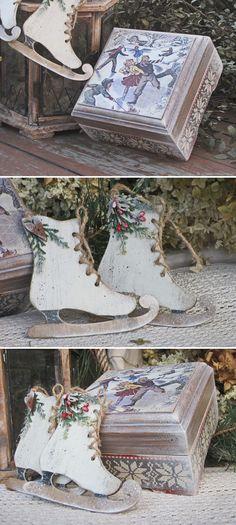 Decoupage Wooden Box   Шкатулка с коньками в винтажном стиле, декупаж, ручная роспись — работа дня на Ярмарке Мастеров